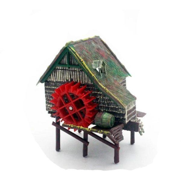 Cabane avec Moulin Hydraulique aquarium