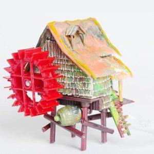 Cabane avec Moulin Hydraulique d'aquarium