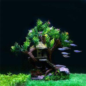 Cabane perchée dans un arbre d'aquarium