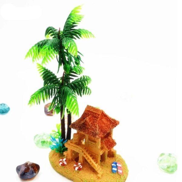 Cabane sous un cocotier aquarium decoration