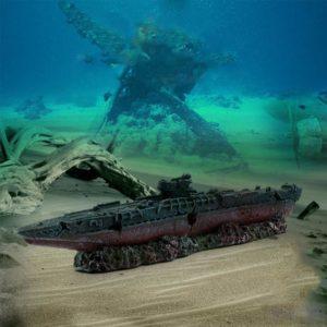 Carcasse de bateau de guerre pour aquarium