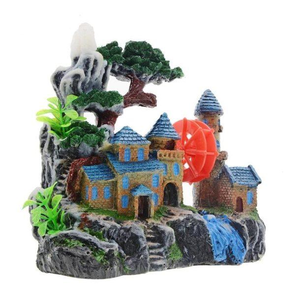 Château au bord de l'eau aquarium decoration