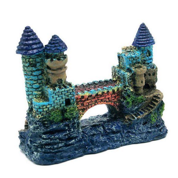 Château bleu avec pont aquarium
