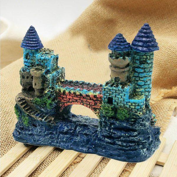 Château bleu avec pont pour aquarium