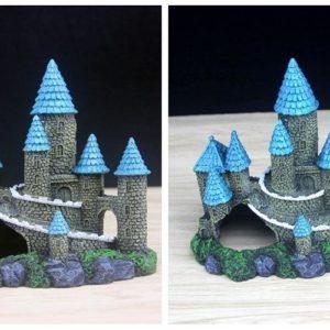 Château médiéval pour poissons pour aquarium