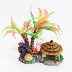 Cocotier Multicolore avec Cabane deco aquarium