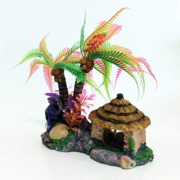 Cocotier Multicolore avec Cabane déco aquarium