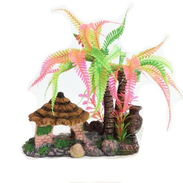 Cocotier Multicolore avec Cabane decoration aquarium