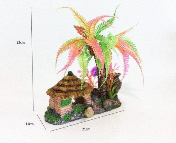 Cocotier Multicolore avec Cabane décoration aquarium