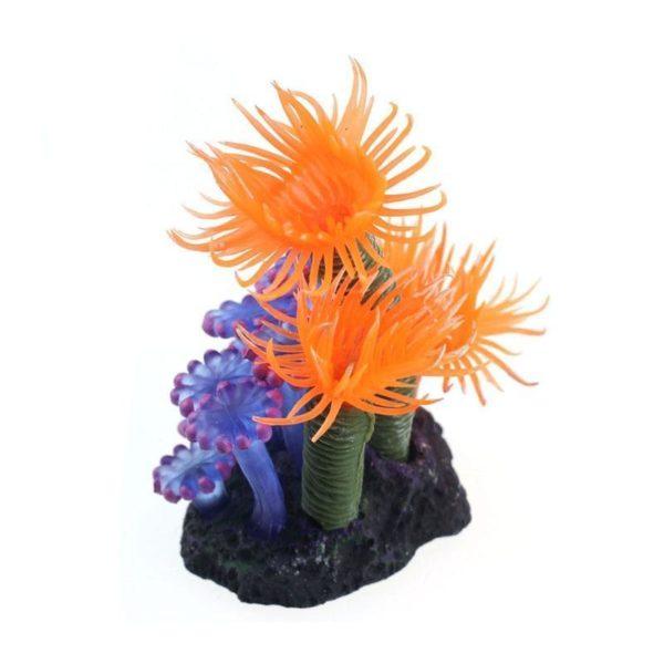 Corail artificiel bleu et orange d'aquarium