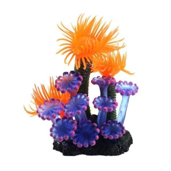 Corail artificiel bleu et orange pour aquarium