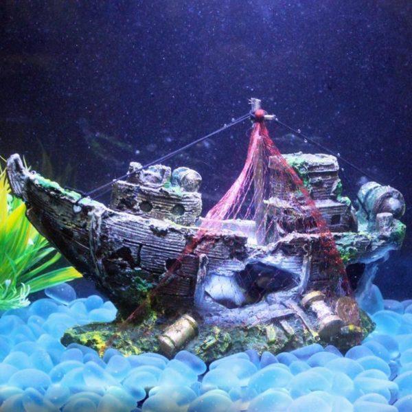 Épave de bateau ancien pour aquarium