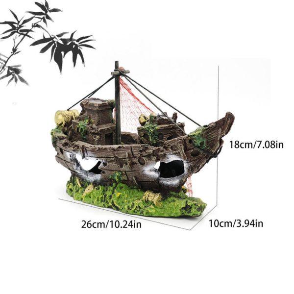 Épave de bateau de pêcheur d'aquarium