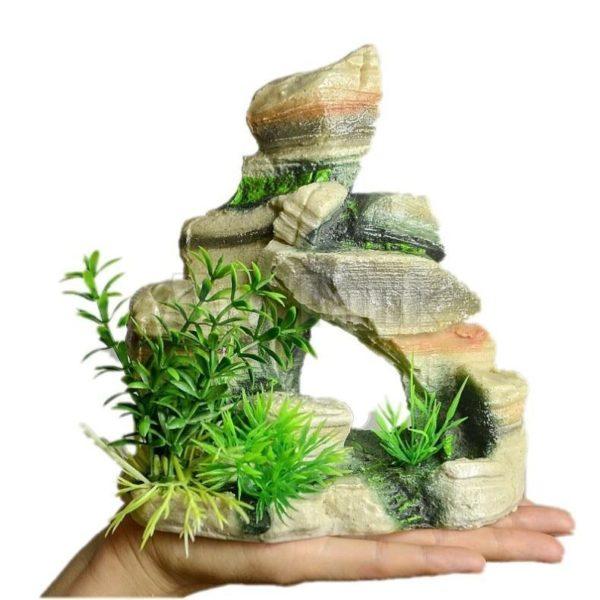 Grand rocher avec plantes aquarium