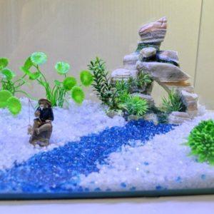 Grand rocher avec plantes d'aquarium