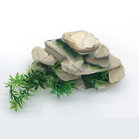 Grand rocher avec plantes pour aquarium