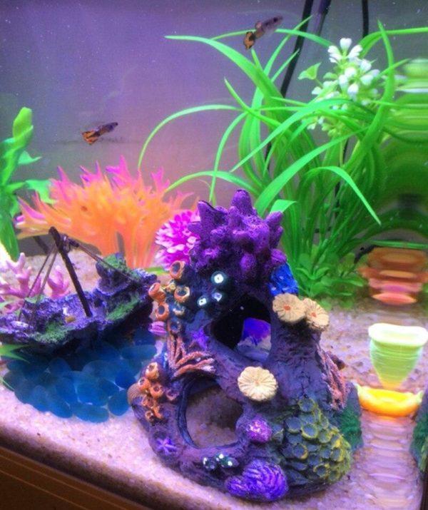 Grotte avec coraux pour poissons pas cher