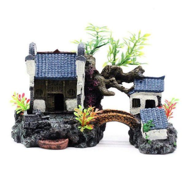 Maison avec Pont et Plantes aquarium