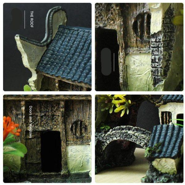 Maison avec Pont et Plantes pour aquarium