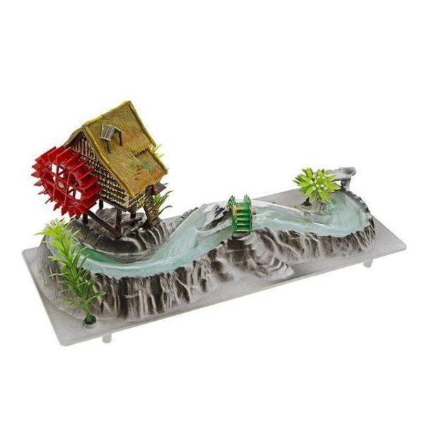 Maison avec moulin et rivière aquarium