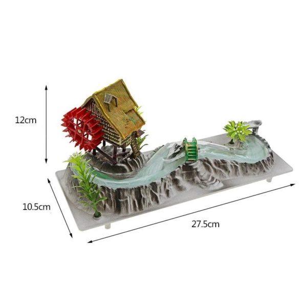 Maison avec moulin et rivière aquarium aquariophilie