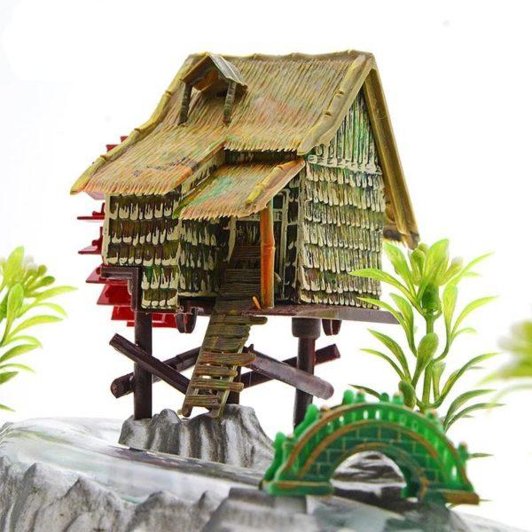 Maison avec moulin et rivière aquarium décoration
