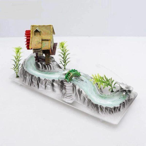 Maison avec moulin et rivière aquarium réaliste