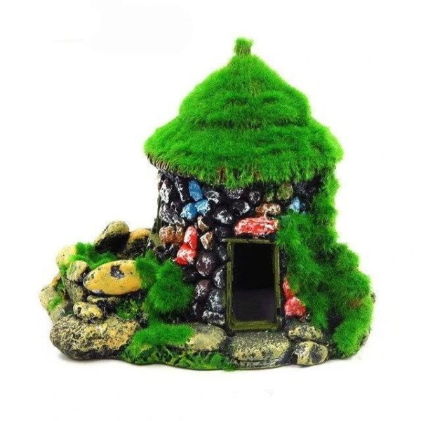 Maison en pierres colorées aquarium