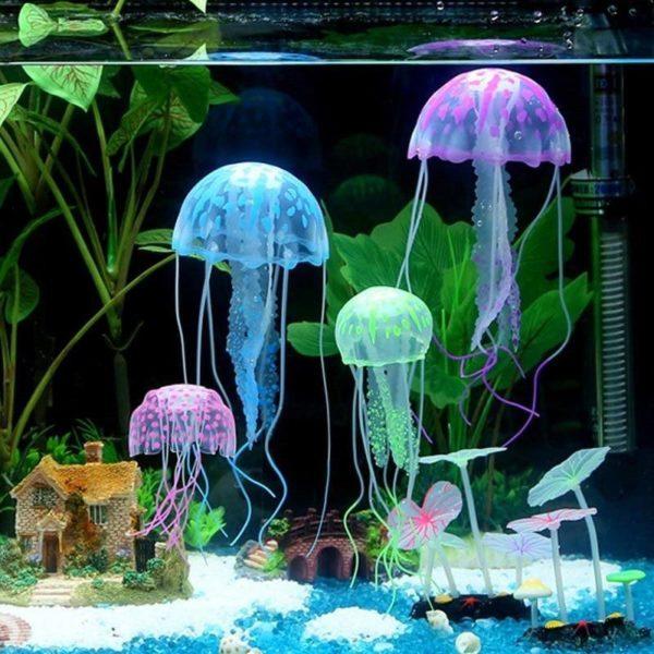Méduses fluorescentes pack de 2 decoration aquarium
