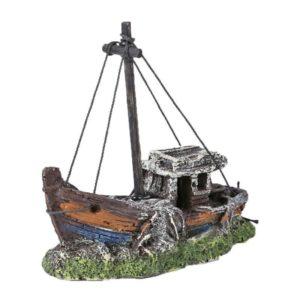 Petite épave de bateau de pêche aquarium