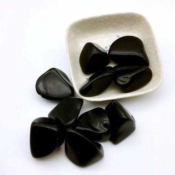 Pierres obsidiennes naturelles noires decorations aquarium