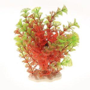 Plante artificielle Verte et Rouge decoration aquarium