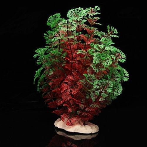 Plante artificielle Verte et Rouge decorations aquarium