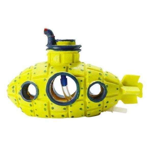 Sous-marin avec sortie d'oxygène jaune