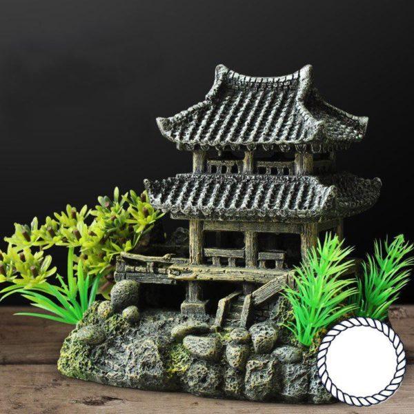 Temple Asiatique sur rocher déco