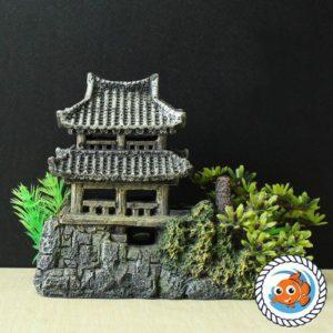 Temple Asiatique sur rocher decorations aquarium