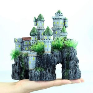 décoration aquarium chateau moderne sur rocher
