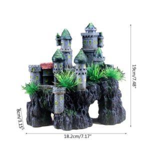 dimensions château d'aquarium moderne sur rocher