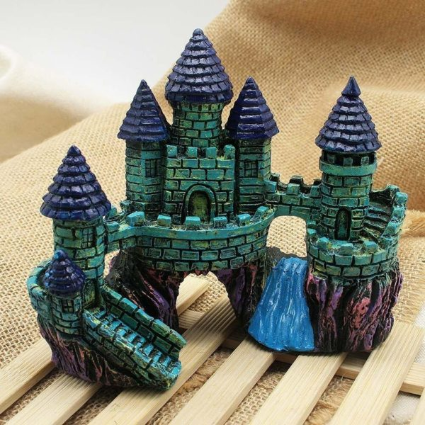 château médiéval décoration aquarium avec riviere