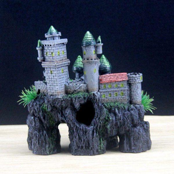 chateau sur rocher moderne d'aquarium
