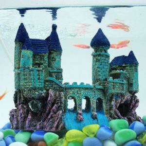 déco chateau sur rocher aquarium
