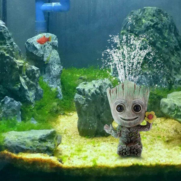 groot avec sortie d'oxygène dans aquarium