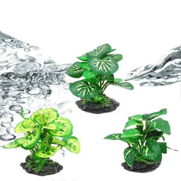 plantes vertes réalistes aquarium décorations