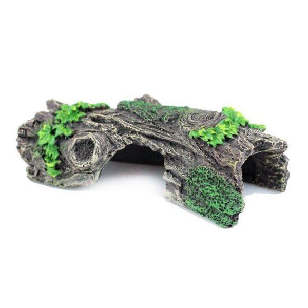 tronc d'arbre avec feuilles aquarium