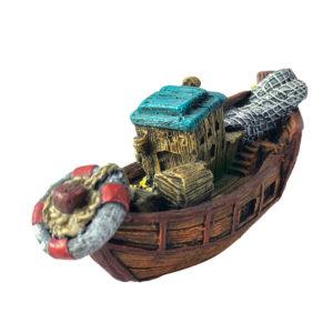 bateau de pêche vintage réaliste pour aquarium