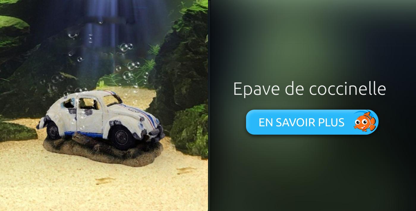 décoration aquarium épave de voiture coccinelle